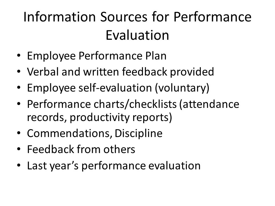 Information Sources for Performance Evaluation