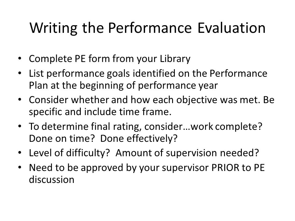 Writing the Performance Evaluation