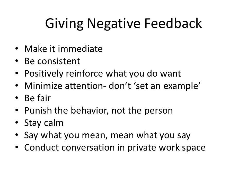 Giving Negative Feedback