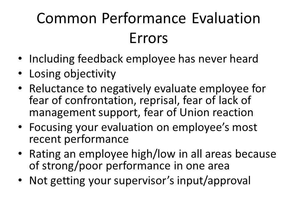 Common Performance Evaluation Errors