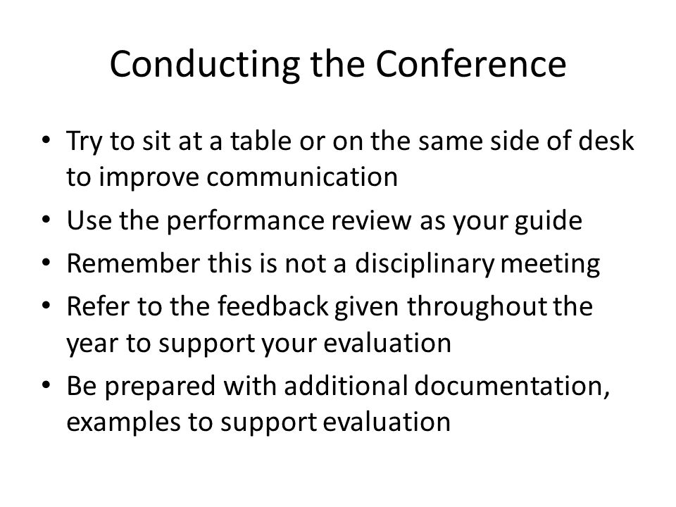 Conducting the Conference