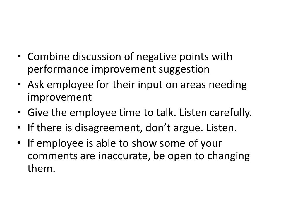 Combine discussion of negative points with performance improvement suggestion