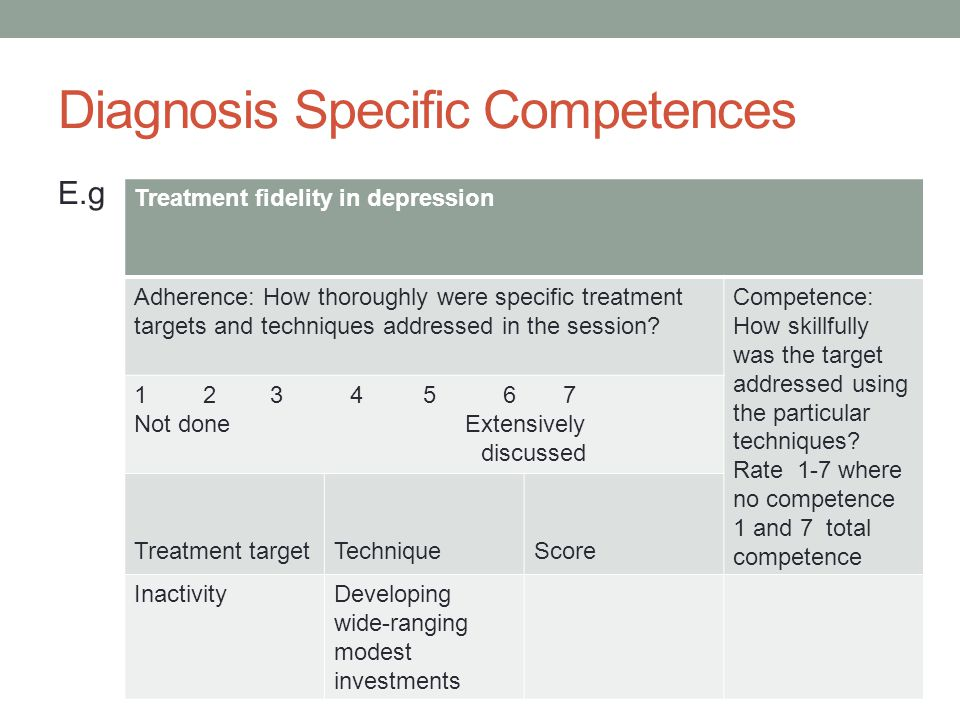 Diagnosis Specific Competences