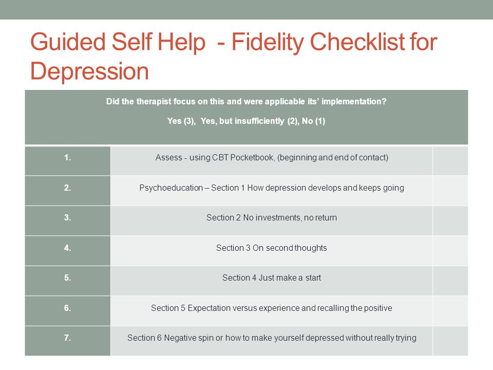 Guided Self Help - Fidelity Checklist for Depression