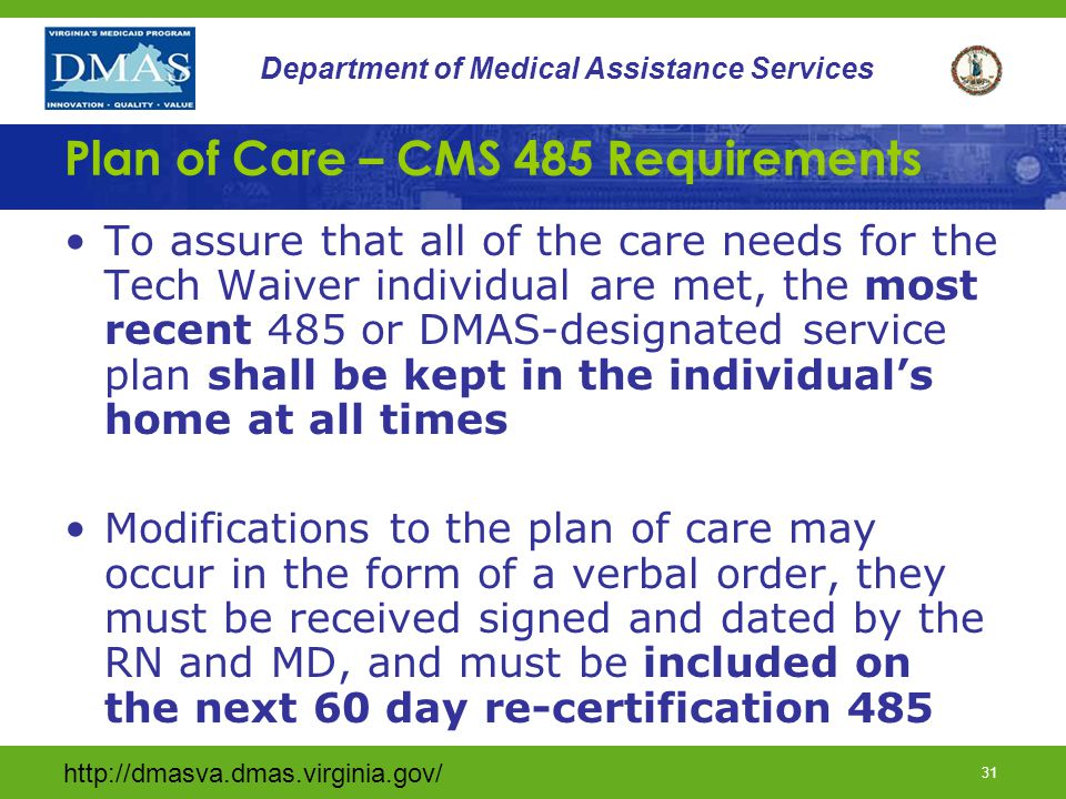 Plan of Care – CMS 485 Requirements