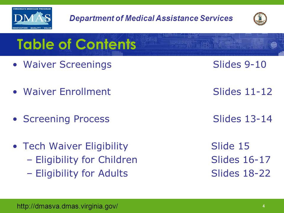 Table of Contents Waiver Screenings Slides 9-10