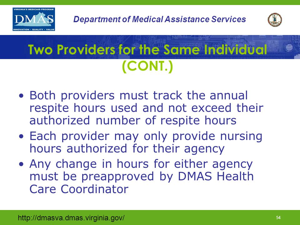 Two Providers for the Same Individual (CONT.)