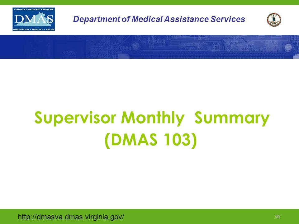 Supervisor Monthly Summary (DMAS 103)