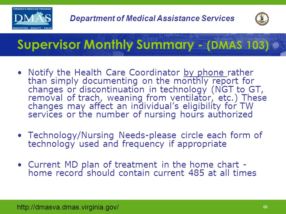 Supervisor Monthly Summary - (DMAS 103)