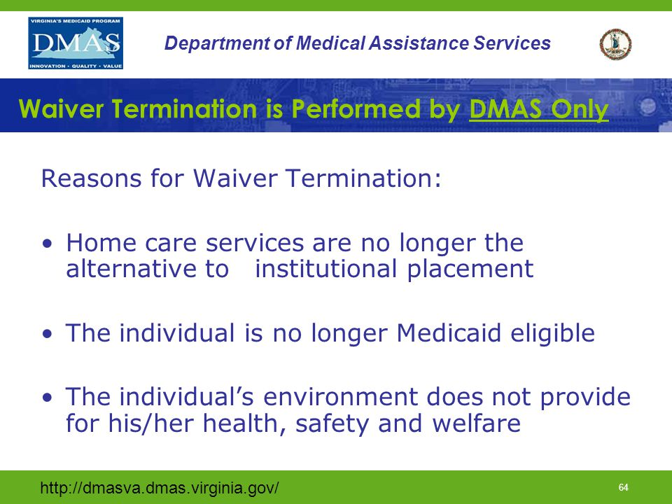 Waiver Termination is Performed by DMAS Only