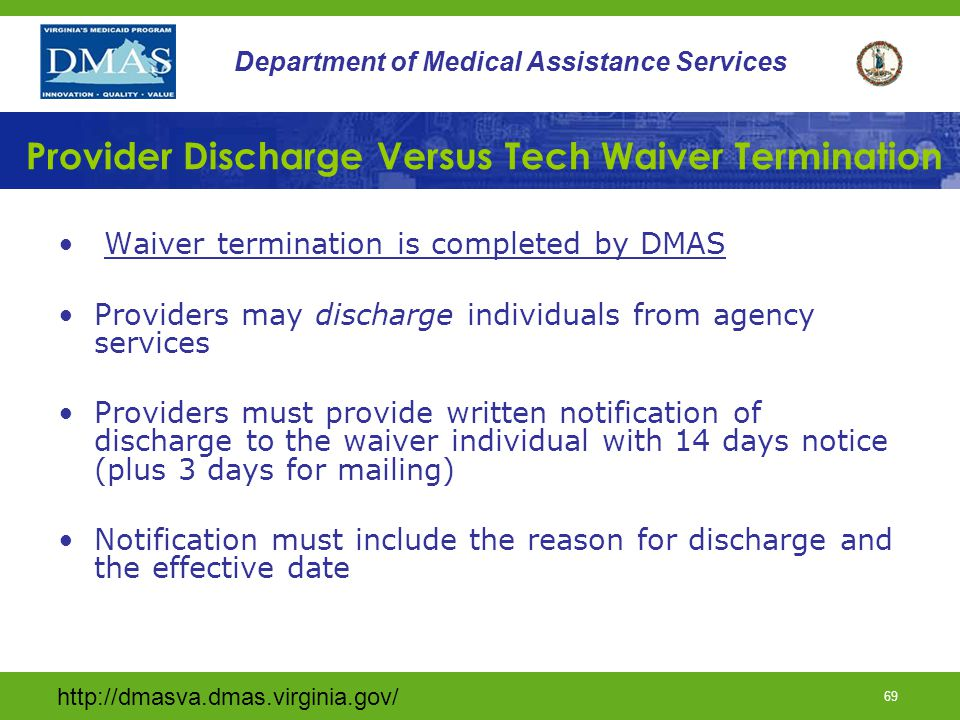 Provider Discharge Versus Tech Waiver Termination