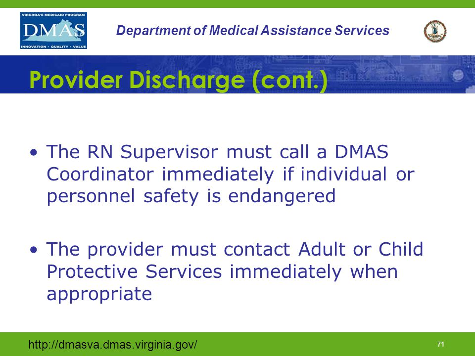 Provider Discharge (cont.)