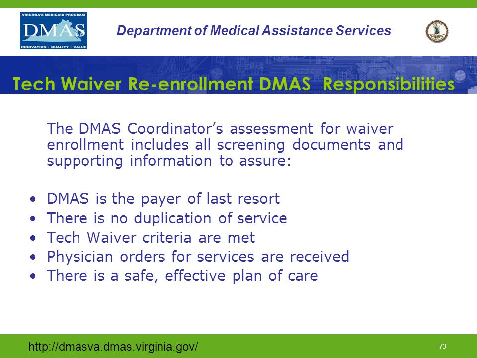 Tech Waiver Re-enrollment DMAS Responsibilities