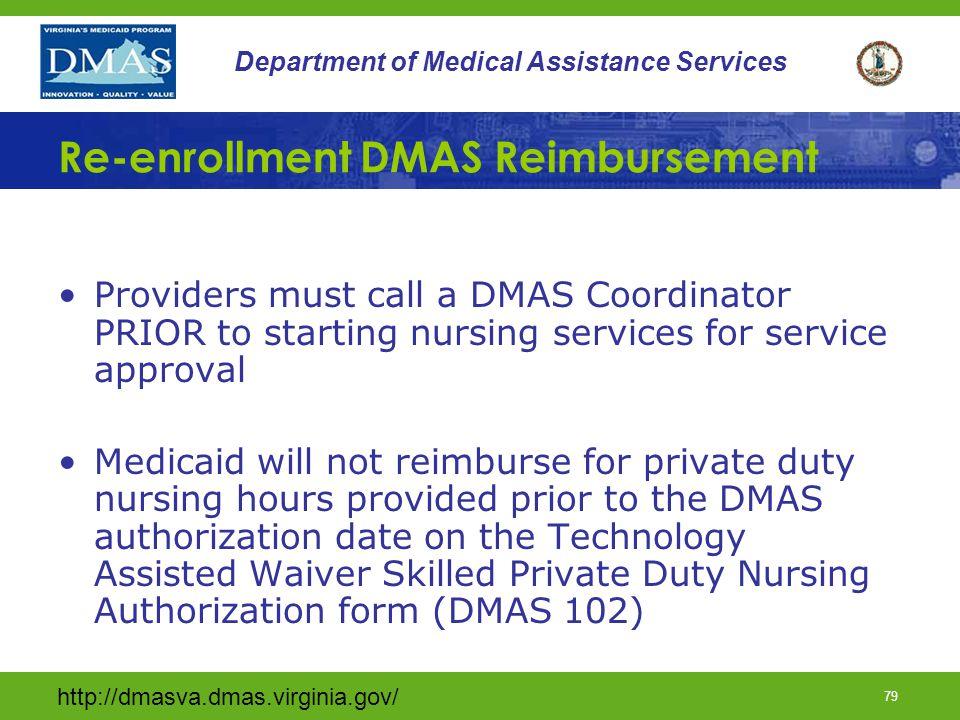 Re-enrollment DMAS Reimbursement