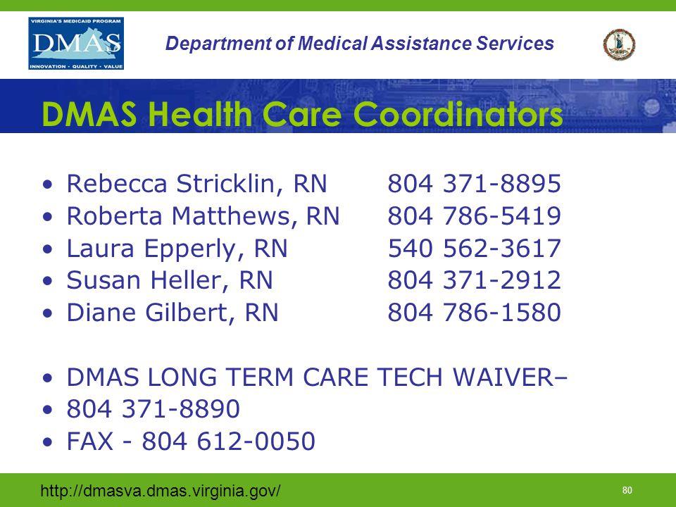 DMAS Health Care Coordinators