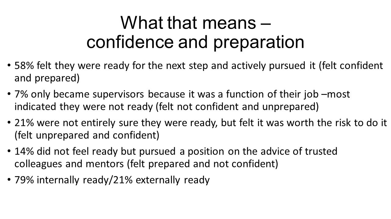 What that means – confidence and preparation