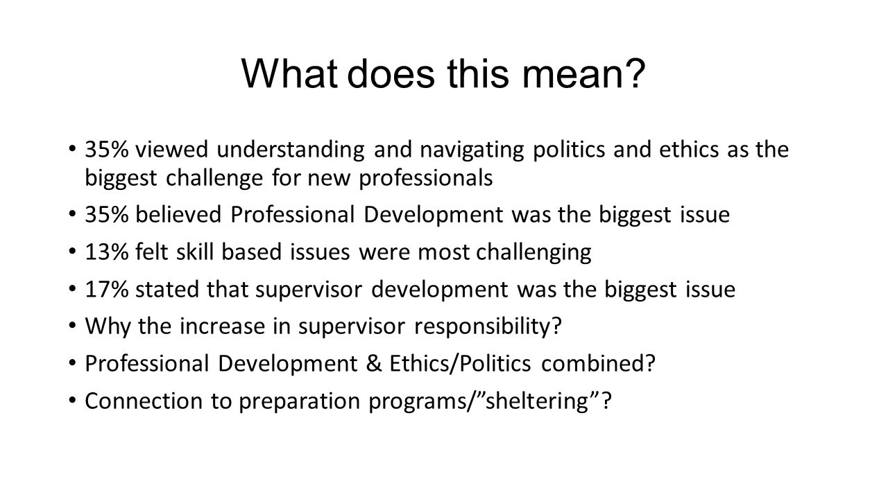 What does this mean 35% viewed understanding and navigating politics and ethics as the biggest challenge for new professionals.