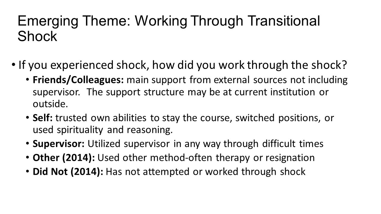 Emerging Theme: Working Through Transitional Shock