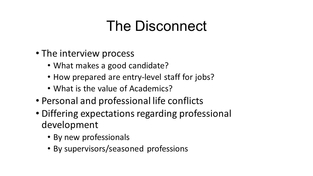 The Disconnect The interview process