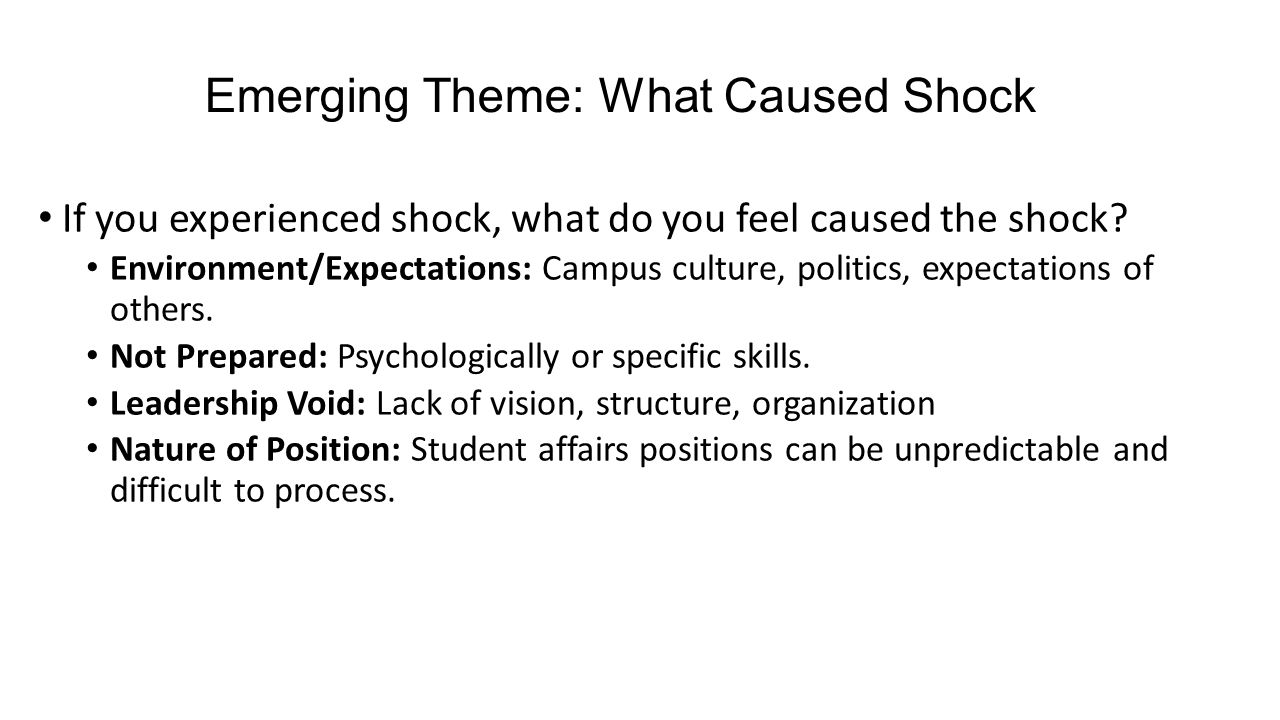 Emerging Theme: What Caused Shock