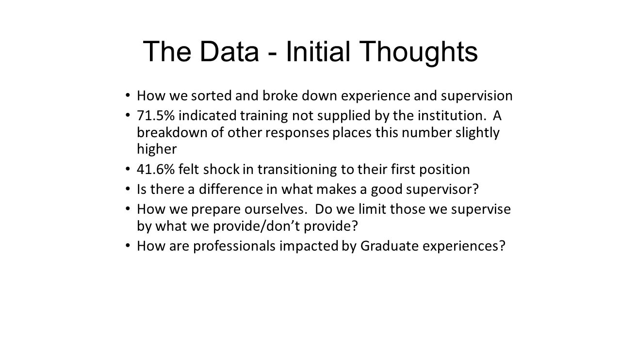 The Data - Initial Thoughts