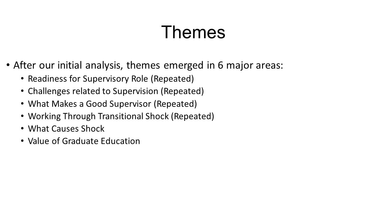 Themes After our initial analysis, themes emerged in 6 major areas: