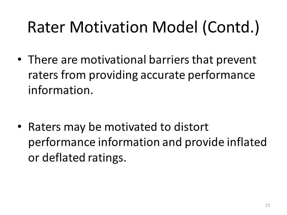 Rater Motivation Model (Contd.)