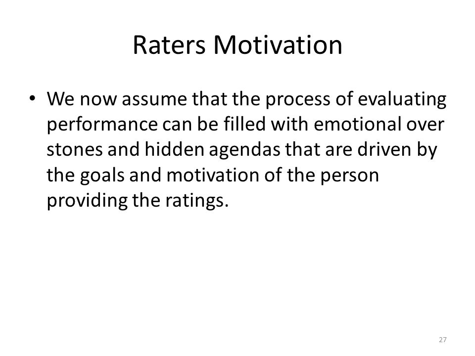 Raters Motivation