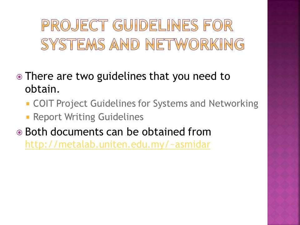 Project Guidelines for Systems and Networking