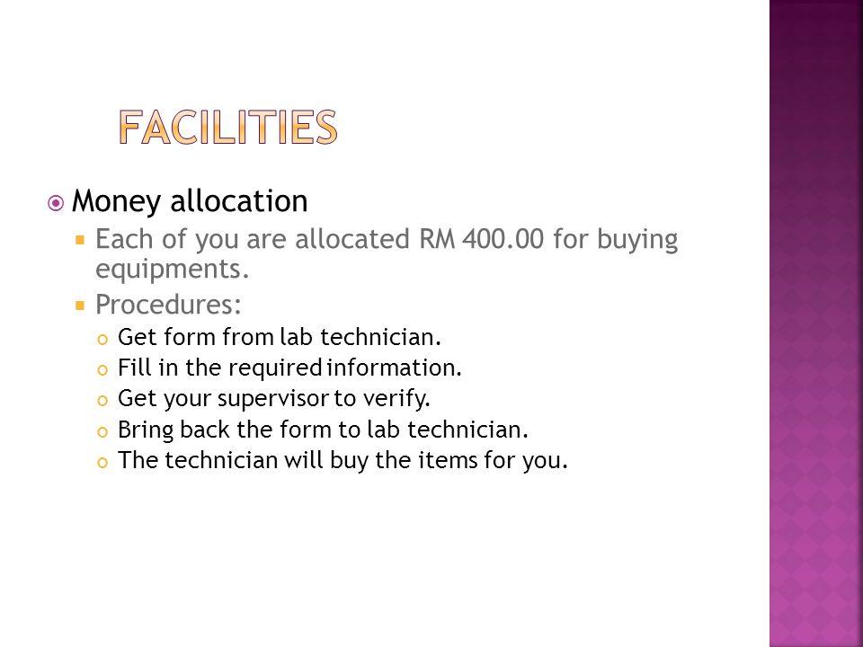 Facilities Money allocation
