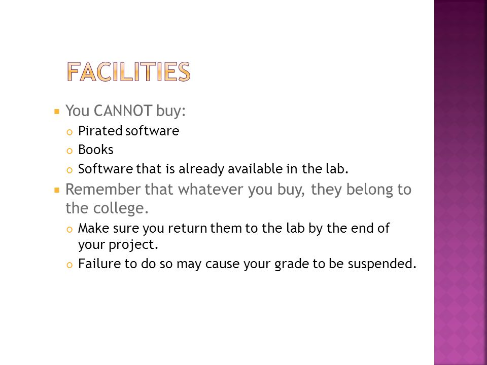 Facilities You CANNOT buy: