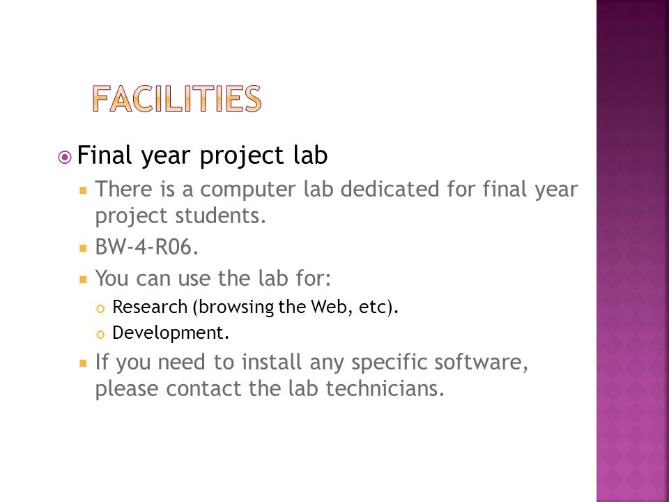Facilities Final year project lab