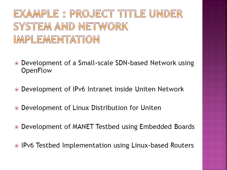 Example : project title under system and network implementation