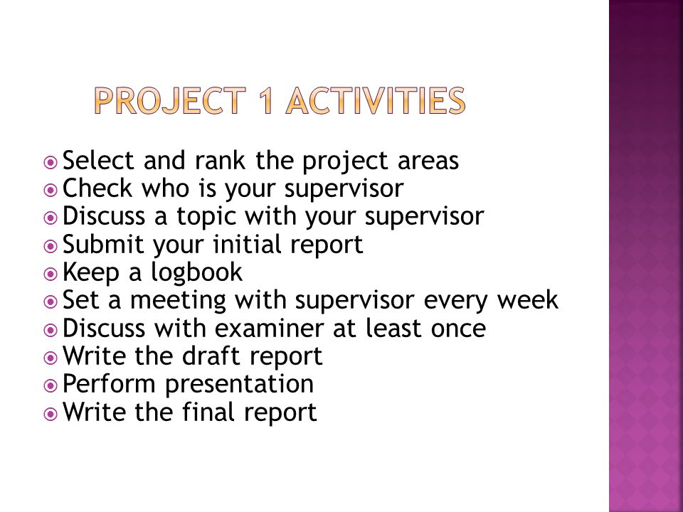 Project 1 Activities Select and rank the project areas
