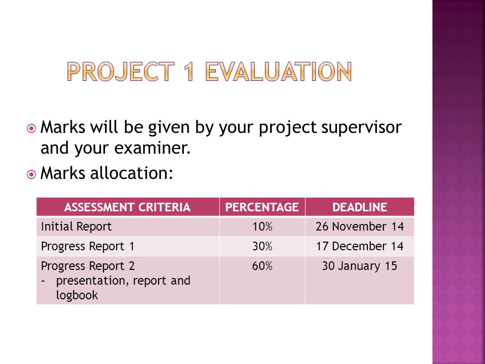 Project 1 Evaluation Marks will be given by your project supervisor and your examiner. Marks allocation:
