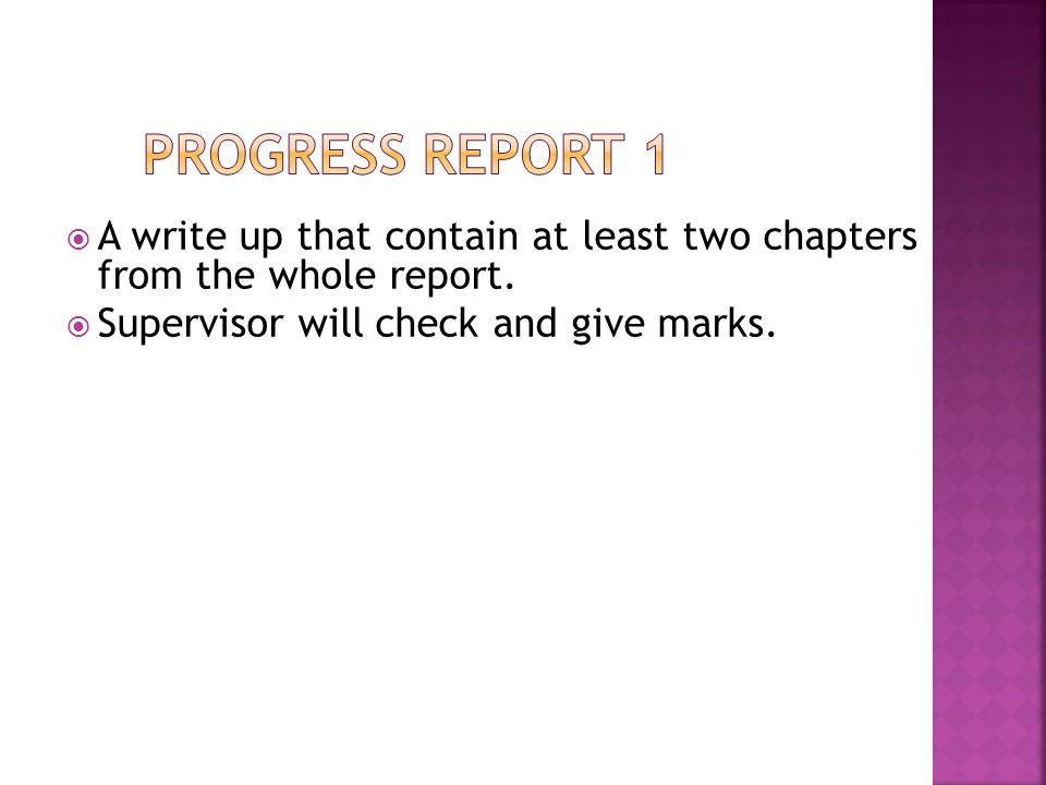 Progress report 1 A write up that contain at least two chapters from the whole report.