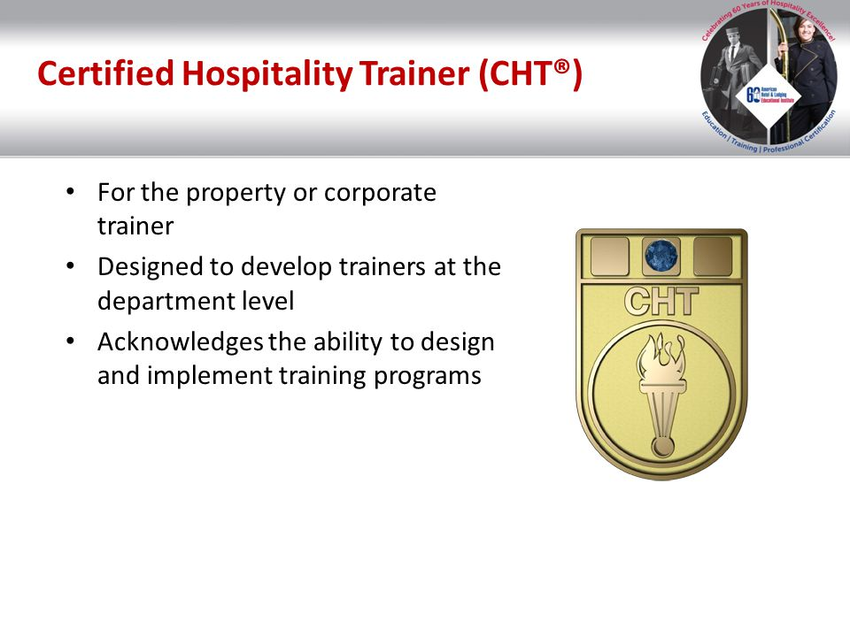 Certified Hospitality Trainer (CHT®)
