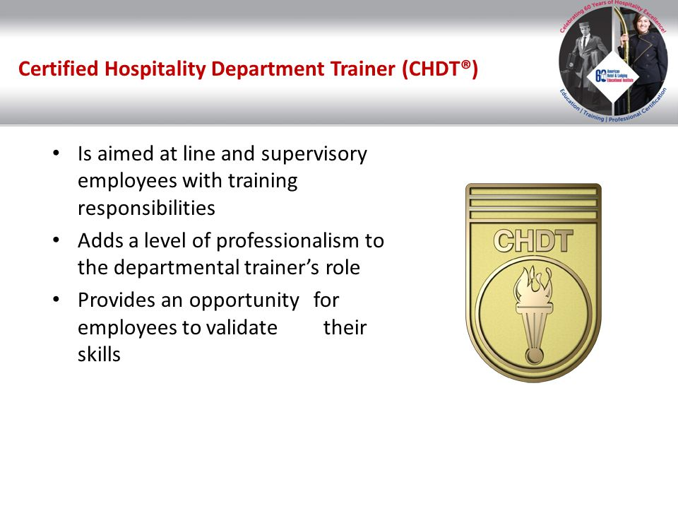 Certified Hospitality Department Trainer (CHDT®)