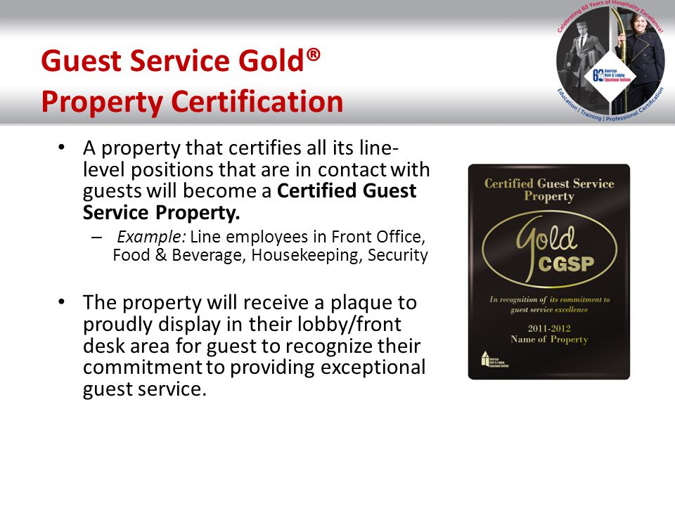 Guest Service Gold® Property Certification