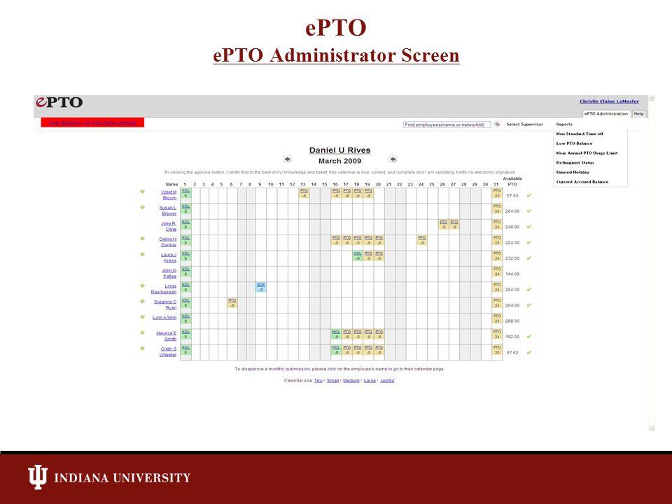 ePTO ePTO Administrator Screen