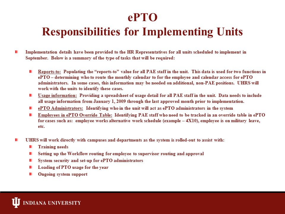 ePTO Responsibilities for Implementing Units