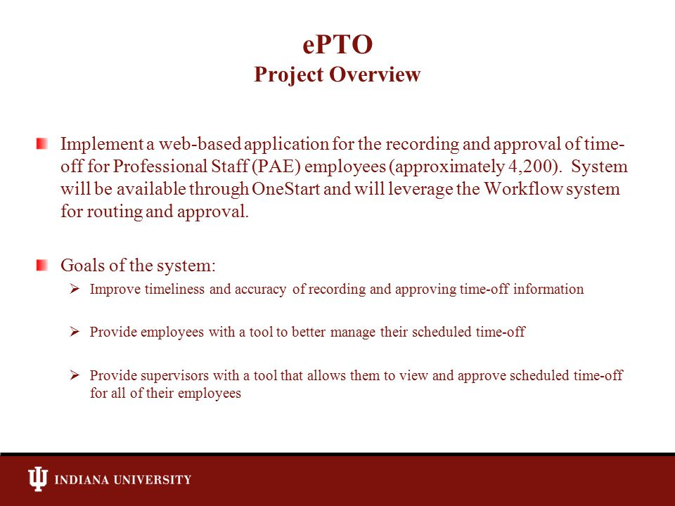 ePTO Project Overview