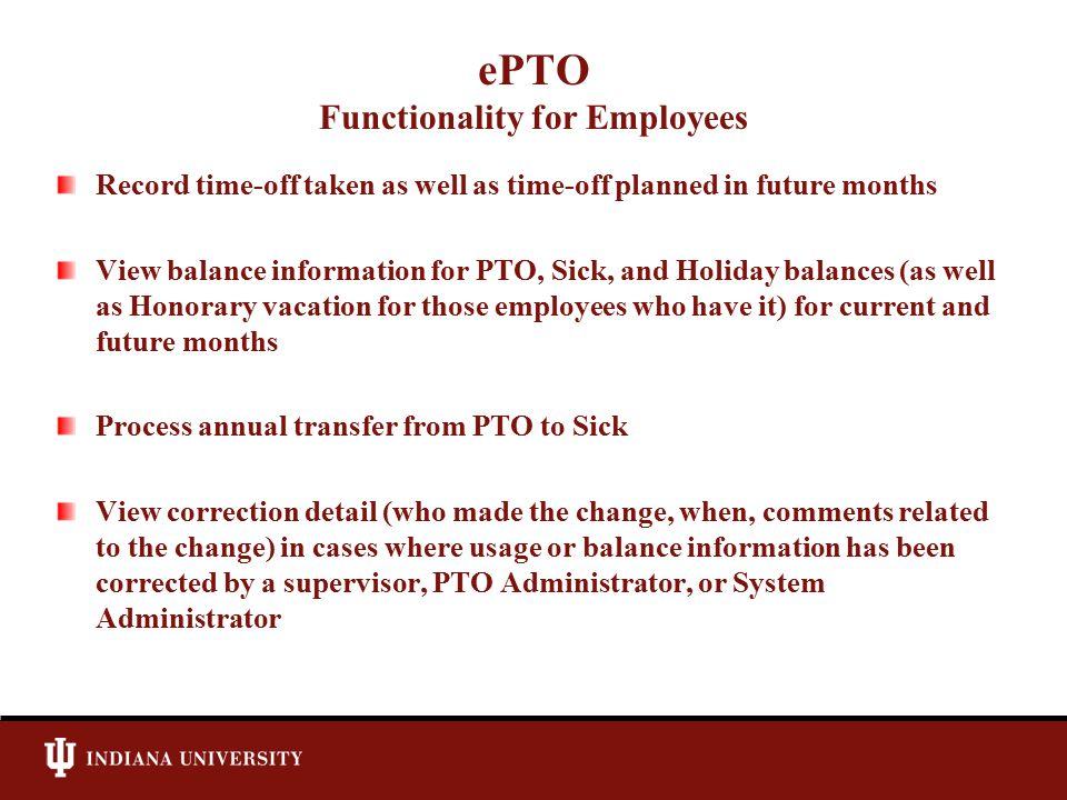ePTO Functionality for Employees