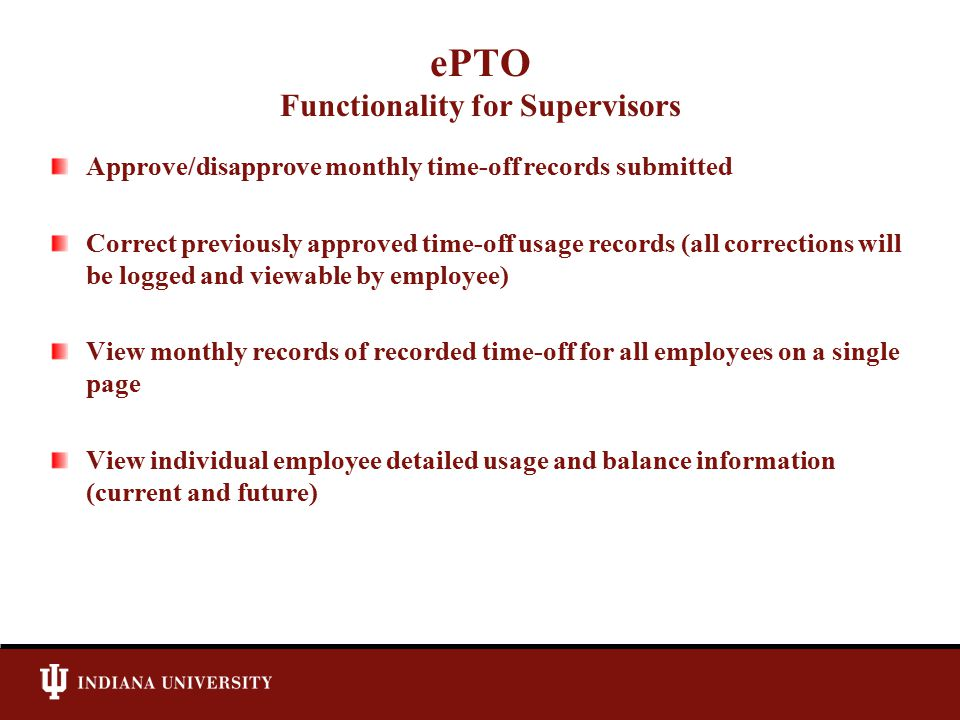 ePTO Functionality for Supervisors