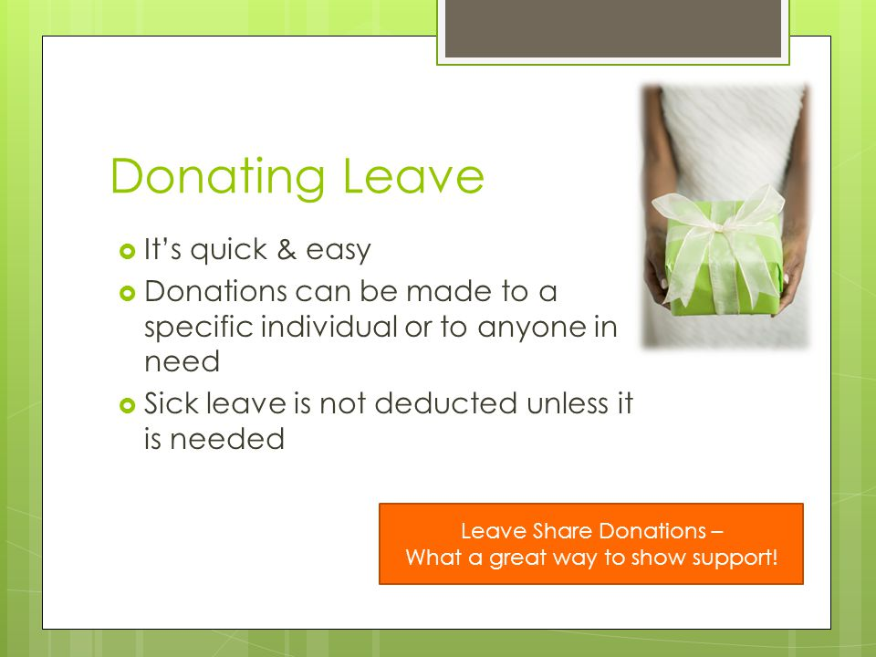 Donating Leave It's quick & easy