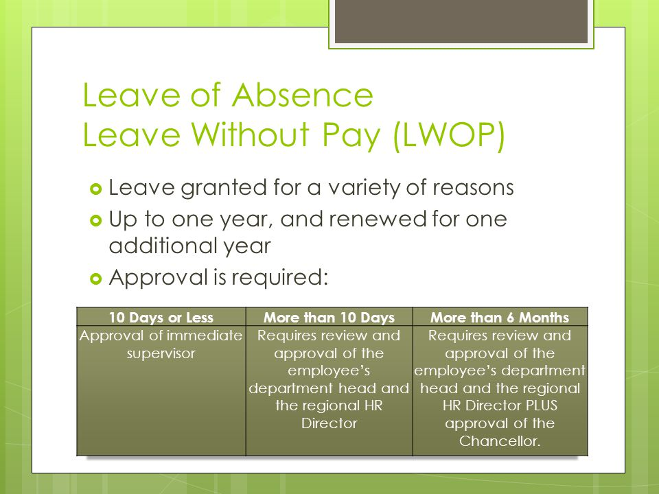 Leave of Absence Leave Without Pay (LWOP)