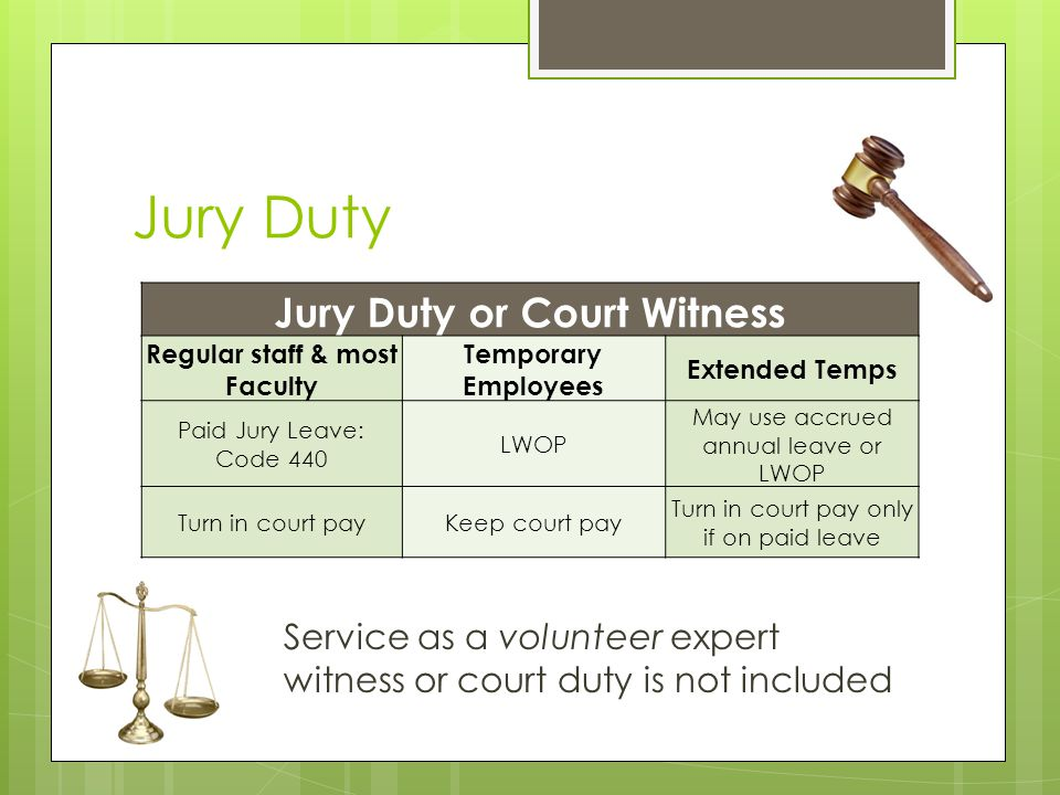 Jury Duty or Court Witness Regular staff & most Faculty