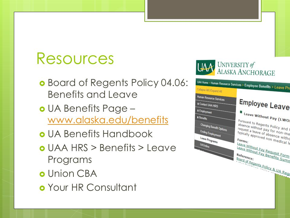 Resources Board of Regents Policy 04.06: Benefits and Leave