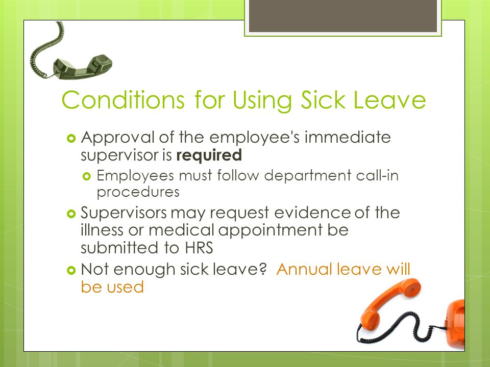 Conditions for Using Sick Leave
