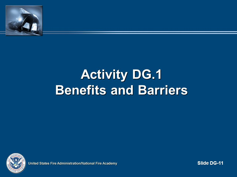 Activity DG.1 Benefits and Barriers